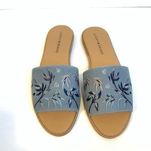 NWOB Lucky Brand Davin Floral Leather Sandals